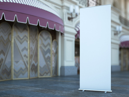exhibition display: Blank roll up banner near old fashioned building. 3d rendering
