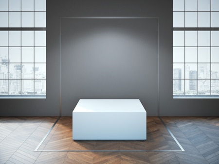 podium: White podium on the wooden floor in the studio. 3d rendering