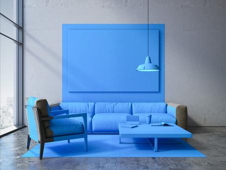 fondos azules: cuadrado azul en un interior moderno con sofá y un sillón. Representación 3D