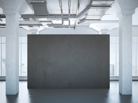 concrete construction: Black poster in a modern loft interior. 3d rendering