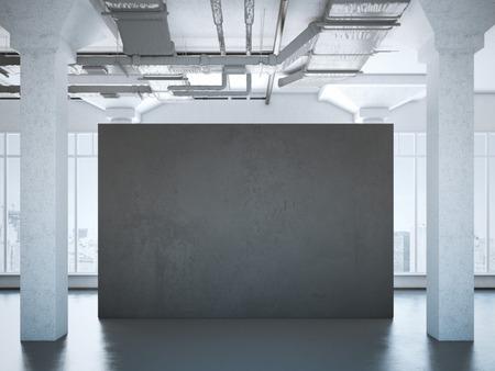 hormig�n: Black poster in a modern loft interior. 3d rendering