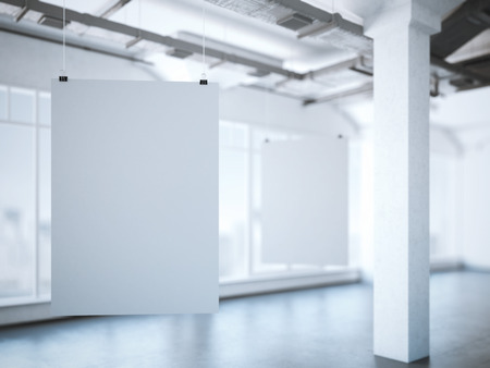 billboard: Two white posters in a modern loft interior. 3d rendering