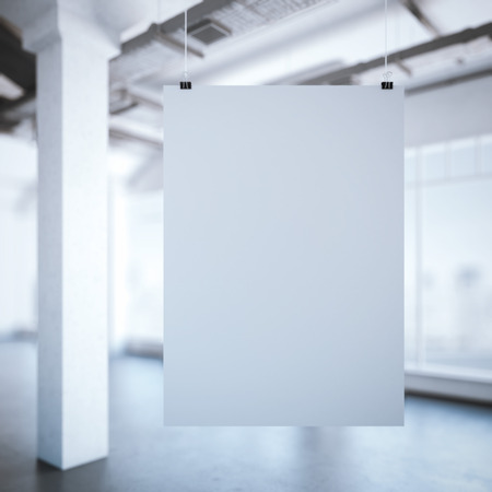 exhibition stand: White poster in a modern loft interior with windows. 3d rendering