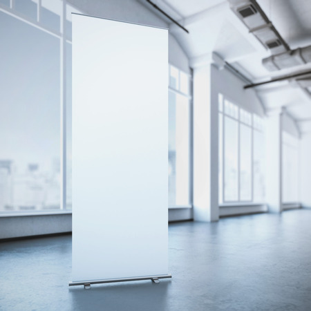 exhibitions: White roll up banner in a modern loft interior. 3d rendering