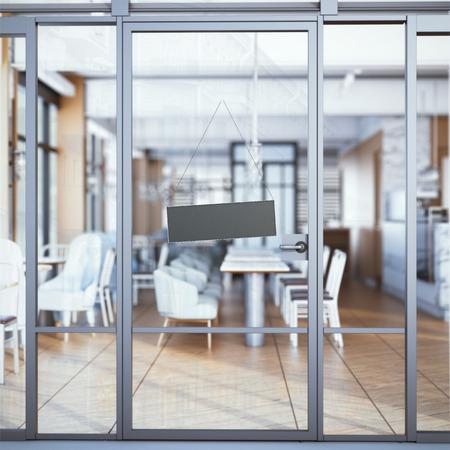 Schild auf Eintritt in das moderne Restaurant. 3D-Rendering Standard-Bild