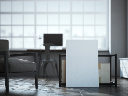 canvas: Blank white canvas near the table in loft interior. 3d rendering