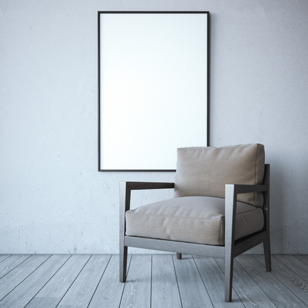 photo frame: Blank white frame with chair in the bright interior. 3d rendering Stock Photo