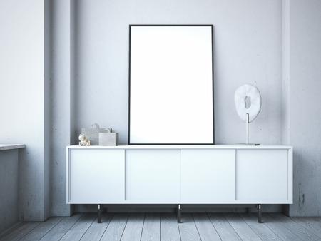 Blank white frame on the chest of drawers in the modern loft. 3d rendering Reklamní fotografie