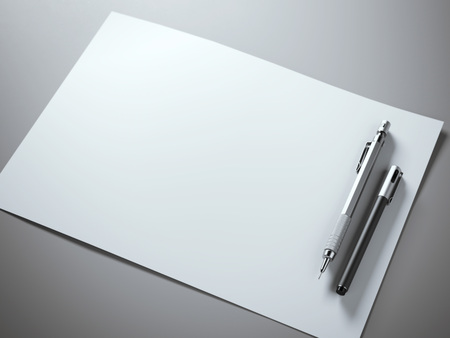white paper: White paper sheet with metal pencil and pen.