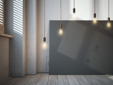 canvas: Blank black canvas with glowing bulbs in the loft interior. 3d rendering