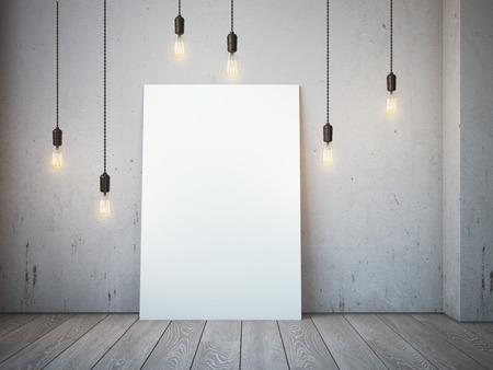 로프트 인테리어에 빛나는 전구 빈 흰색 캔버스. 3 차원 렌더링 스톡 콘텐츠
