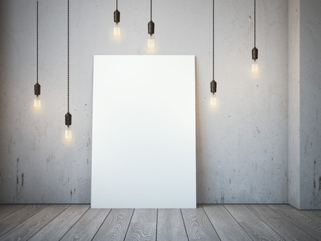 Blank white canvas with glowing bulbs in the loft interior. 3d rendering Stockfoto