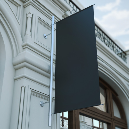black banner: Black banner flag on the classic building. 3d rendering Stock Photo