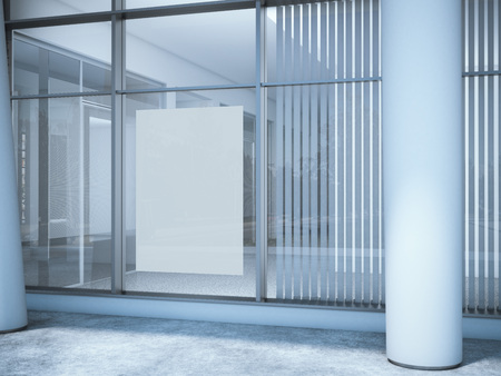 commercials: White blank poster on the office window. 3d rendering