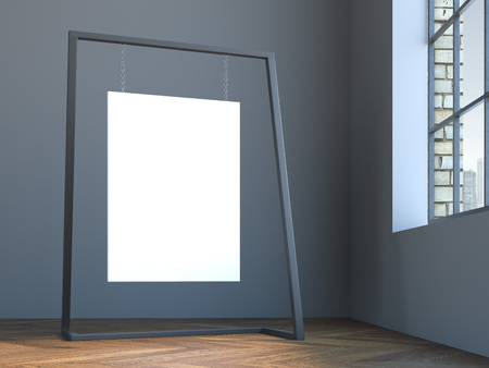 white canvas: Blank white canvas hanging on the modern stand in gray interior. 3d rendering Stock Photo