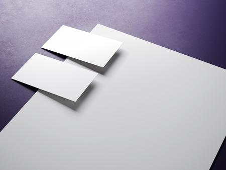 workpiece: Blank white mock up in the purple studio.