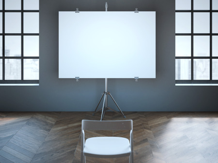 blank screen: Conference room with blank screen and one chair. 3d rendering Stock Photo