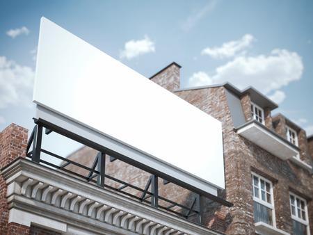 クラシックな建物にブランクの看板の立っています。3 d レンダリング 写真素材