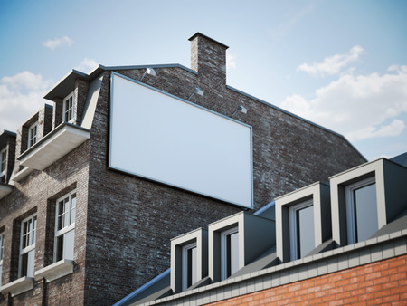 billboards: Blank billboard hanging in shadow of the classic building. 3d rendering