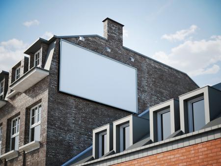 billboard: Blank billboard hanging in shadow of the classic building. 3d rendering