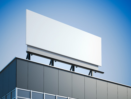 reflect: Blank billboard standing on the modern office building. 3d rendering