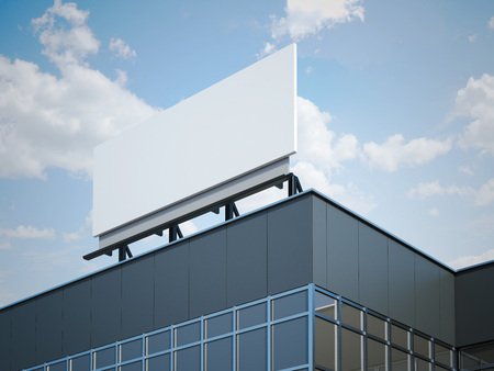 reflect: Blank billboard on the modern office building. 3d rendering