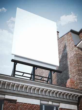 billboard: Blank vertical billboard standing on the classic building.