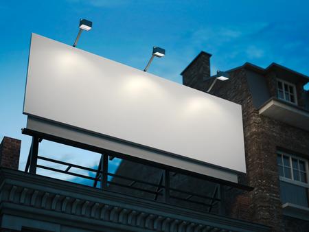 building: Cartelera en blanco que se coloca en edificio clásico en la noche. Las 3D