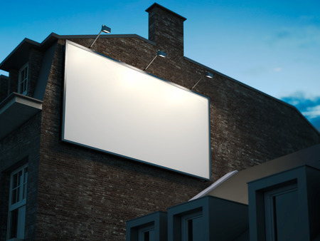 billboard advertising: Blank billboard hanging on classic building in the night. 3d rendering