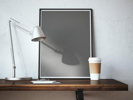 Schwarzer leerer Rahmen auf dem Tisch mit Lampe und Tasse Kaffee. 3D-Rendering Standard-Bild - 48928798