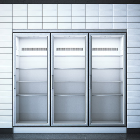 Refrigerator with three doors in the store and white walls. 3d rendering