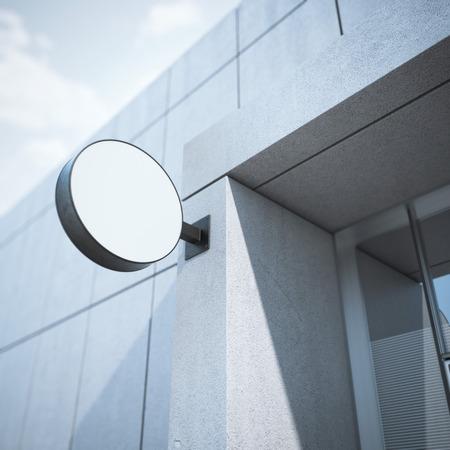 letreros: letrero en círculo en el edificio de oficinas moderno. Representación 3D