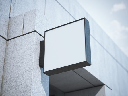 Square signboard on the modern office building. 3d rendering