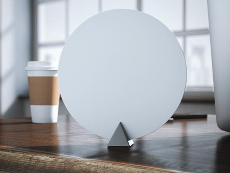 fondo para tarjetas: Moder círculo placa de identificación en la mesa de la oficina de madera. Las 3D