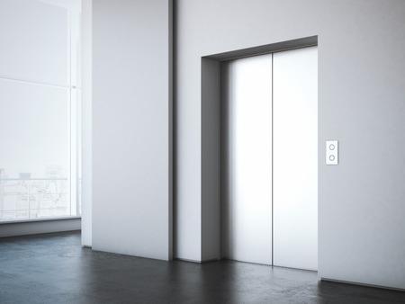 엘리베이터 및 흰색 광고 스탠드 사무실 로비. 3d 렌더링