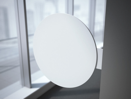 circle objects: White circle signboard in the office interior with windows. 3d rendering