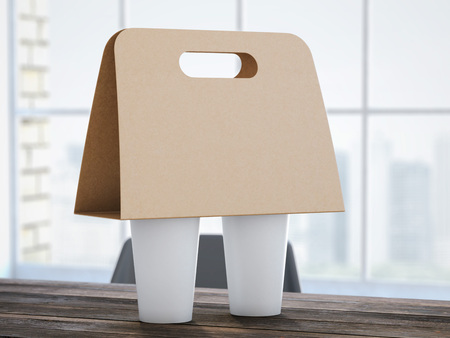 brown paper bags: Cardboard Coffee Holder on the office table. 3d rendering Stock Photo