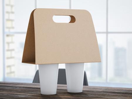 Kartonnen Coffee houder op het kantoor tafel. 3D-rendering