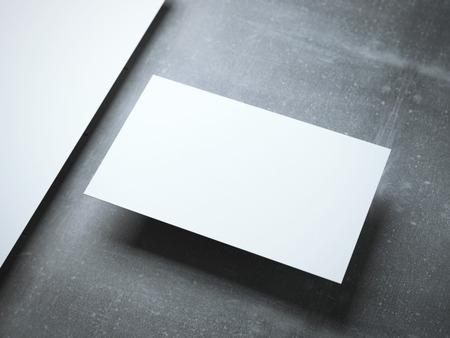 workpiece: Blank  business card on the metal floor. 3d rendering