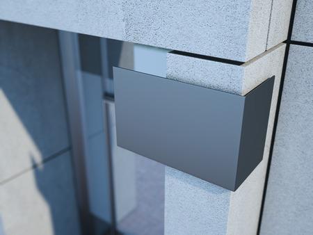 letreros: señal metal moderno en el edificio de oficinas. Representación 3D
