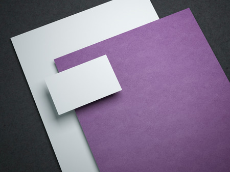 blank business card: Blank mockup with two paper sheets and business card. 3d rendering