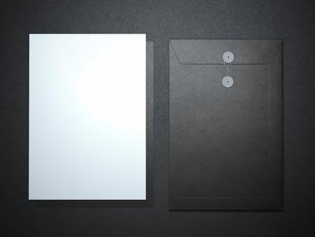 dossier: Blank paper sheet and folder. 3d rendering