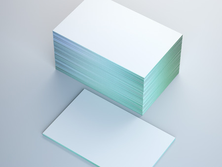 Stack of business cards on white floor. 3d rendering