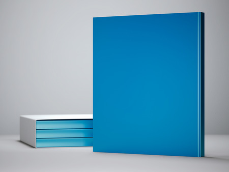 Blank blue book standing on white floor. 3d rendering Stok Fotoğraf