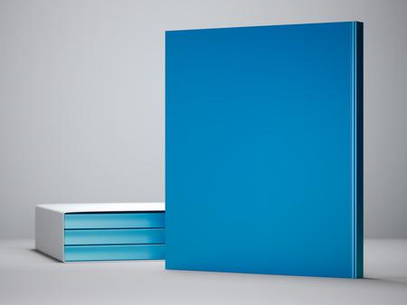 Blauw boek staande op witte vloer. 3D-rendering Stockfoto
