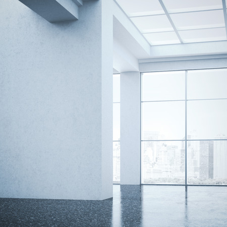 office ceiling: Bright large hall in modern gallery. 3d rendering