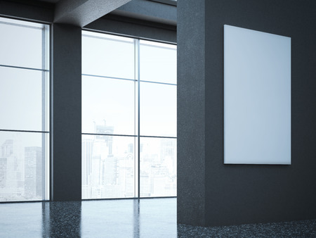 wall design: Dark large hall in modern gallery. 3d rendering Stock Photo
