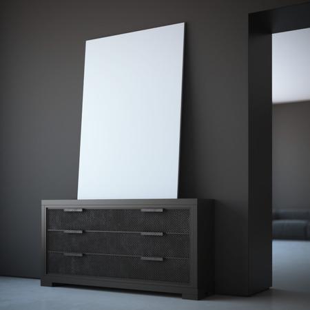 Blank white canvas in dark interior with black walls. 3d rendering Reklamní fotografie
