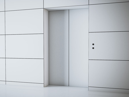 lift gate: Modern white office hall with elevator. 3d rendering Stock Photo