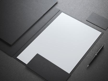 Blank white shhet in black folder. 3d rendering